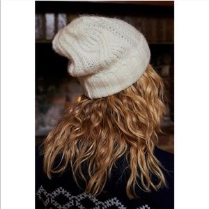 Free People Ivory Solid Knit Folded Beanie
